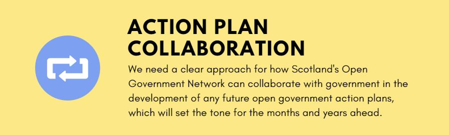 Action plan collaboration - We need a clear approach for how Scotland's Open Government Network can collaborate with government in the development of any future open government action plans, which will set the tone for the months and years ahead.