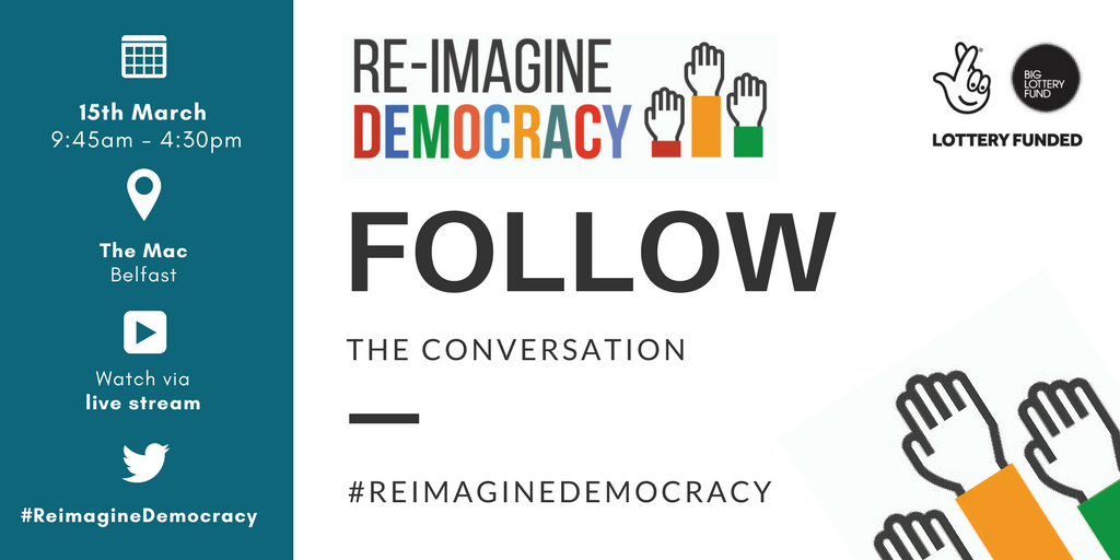 Follow using #ReimagineDemocracy